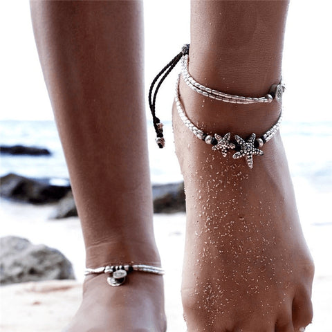 Starfish and Sphere Unique SIlver Anklet - FeetyWeety