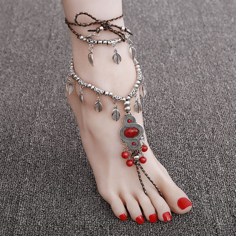 Tribal Blood Ruby Bohemian Anklet - FeetyWeety