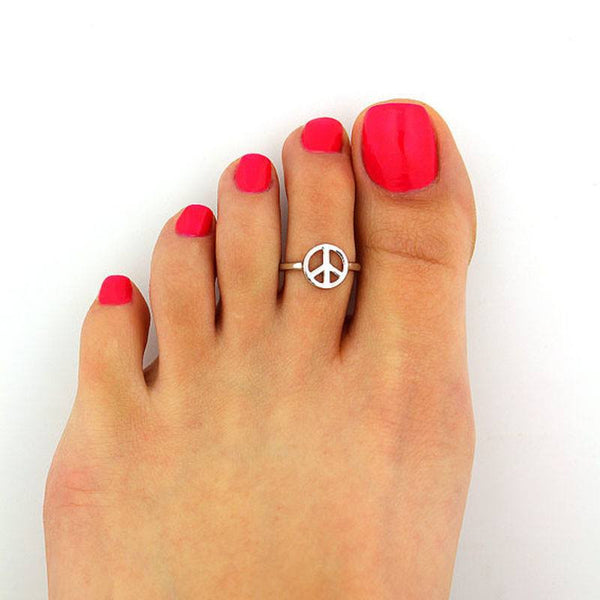 Silver Plated Peace Conquers Toe Ring - FeetyWeety