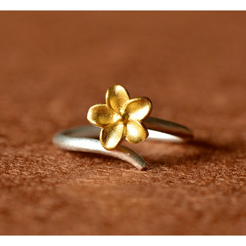 Sterling Silver Gold Brushed Sakura Toe Ring - 925 - FeetyWeety