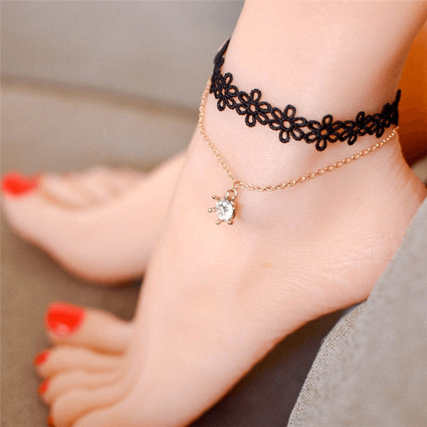 Gothic Black Lace Suspended Crystal Anklet - FeetyWeety