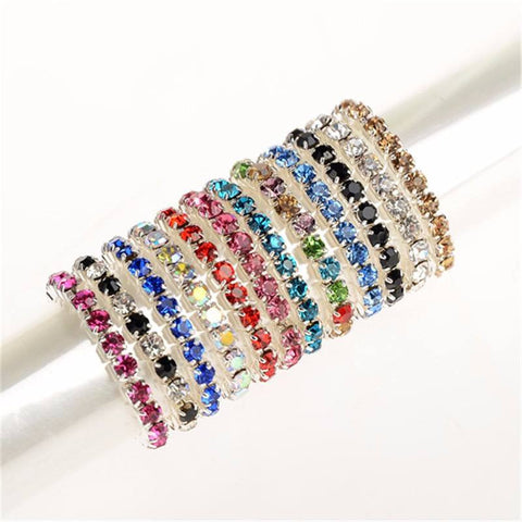 Multicolor Rhinestone Crystal Toe Rings Set - 12 Pieces - FeetyWeety