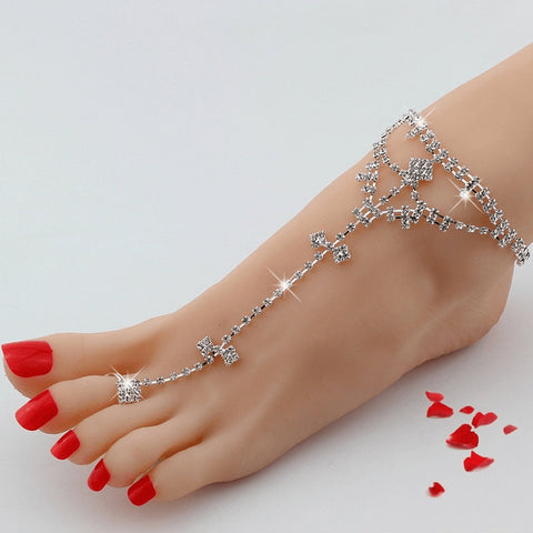 Silver Bohemian Crystal Bridal Anklet - FeetyWeety
