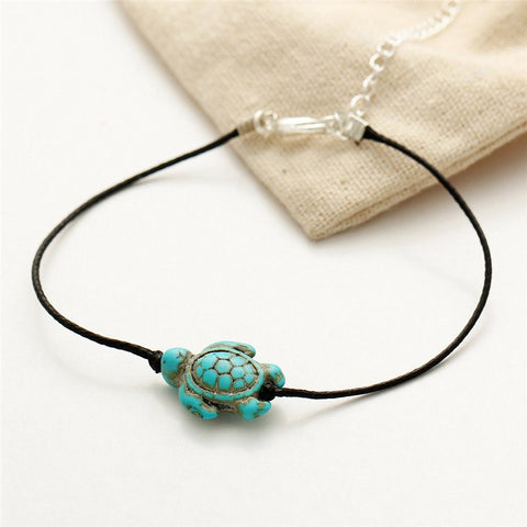 Organic Cotton Hand Made Turquoise Turtle Friends Anklet - FeetyWeety
