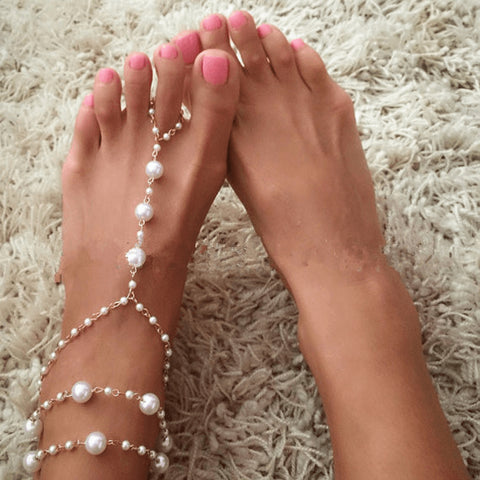 Sublime Golden Pearl Anklet and Toering - FeetyWeety
