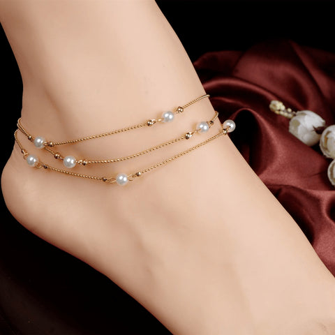 Gentle Threaded Gold Pearl Anklet - FeetyWeety