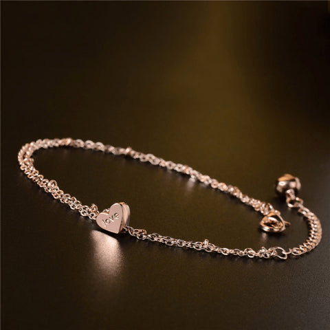 Rose Gold Plated Just Love Anklet - FeetyWeety