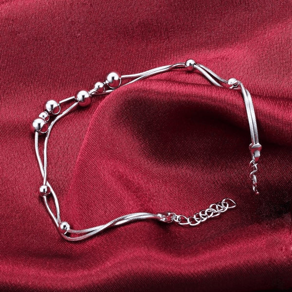 Sterling Silver Smooth Chain Spheres & Circles Anklet - 925 - FeetyWeety