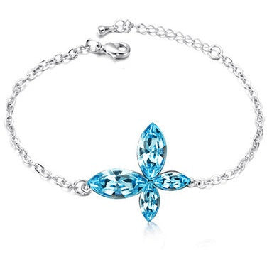 Austrian Crystal Butterfly Queen Silver Anklet - 5 Colors - FeetyWeety