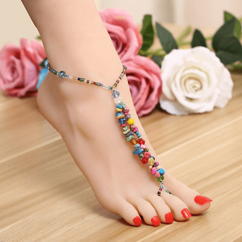 Natural Colored Stone & Glass Ankle Bracelet - FeetyWeety