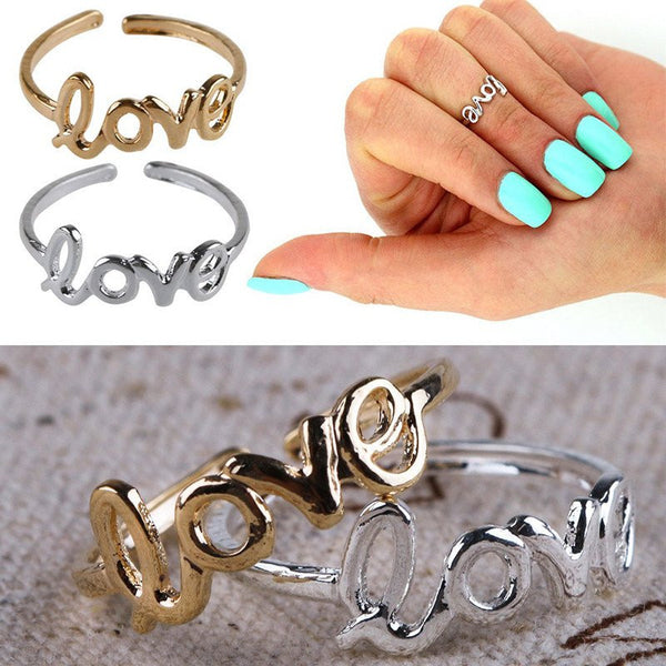 Gold & Silver Plated All For Love Toe Ring - FeetyWeety