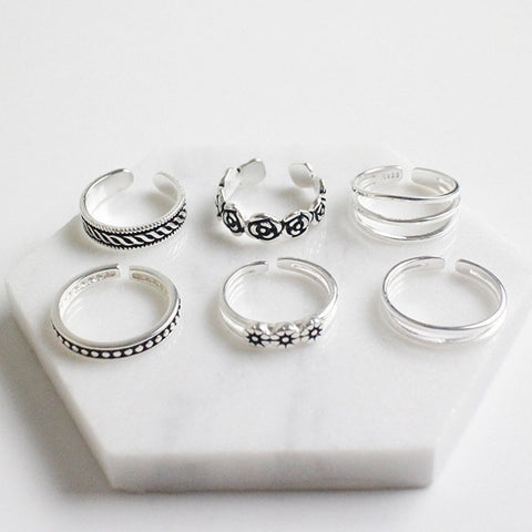 Sterling Silver Complete Purity Toe Ring Set - 925 - FeetyWeety