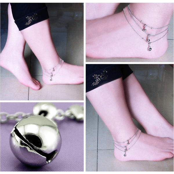 Sterling Silver Triple Chain Flowing Chimes Anklet - 925 - FeetyWeety