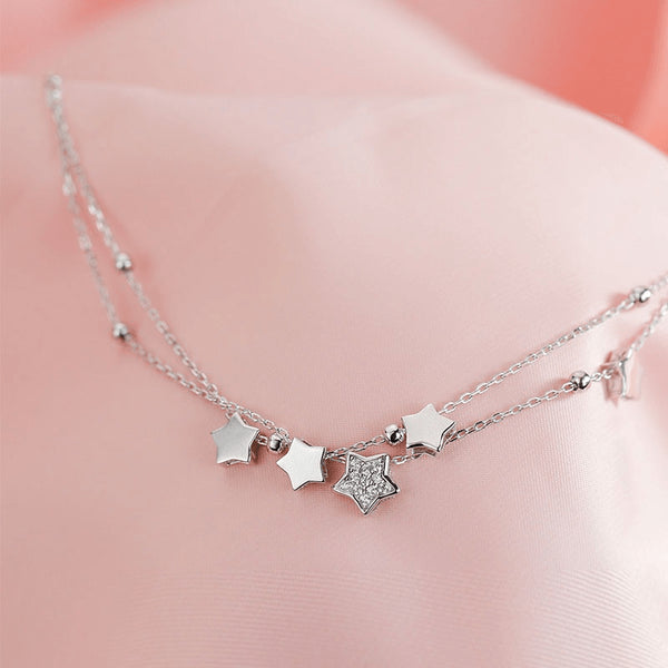 Sterling SIlver Stars and Diamonds Charm Anklet - 925 - FeetyWeety