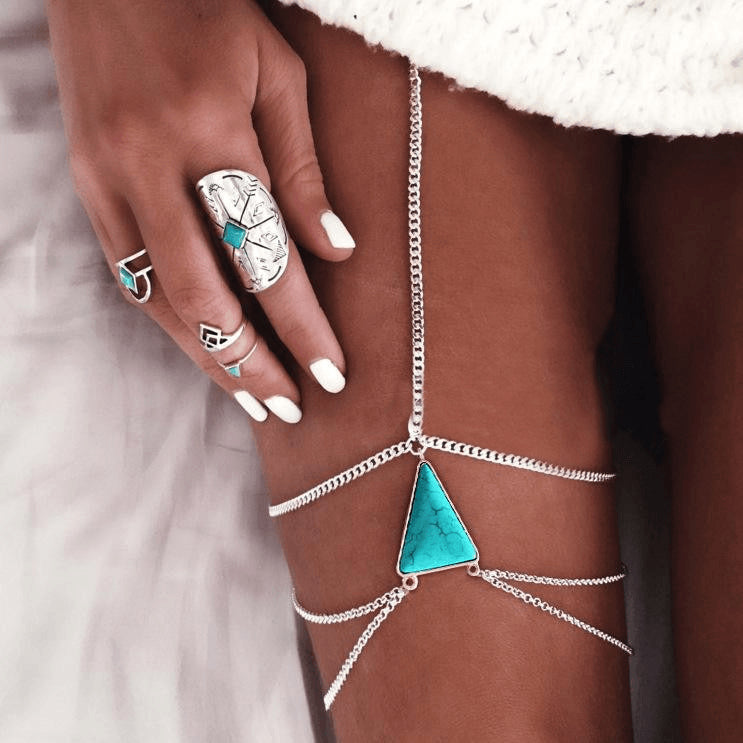 Sexy Threaded Triangular Turquoise Body Chain - FeetyWeety
