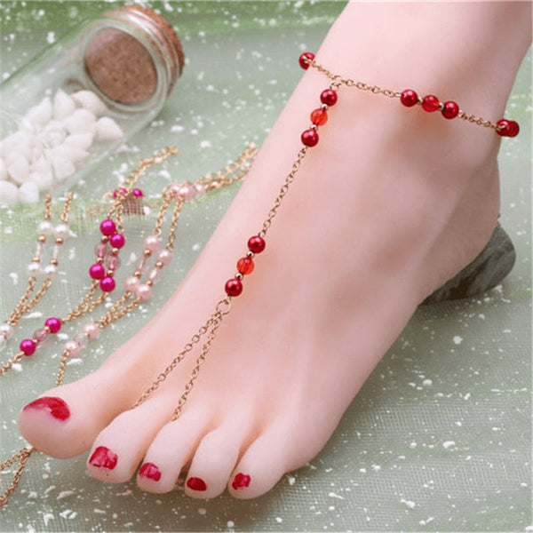 Inferno Red Gold Chain & Glass Beads Anklet - FeetyWeety
