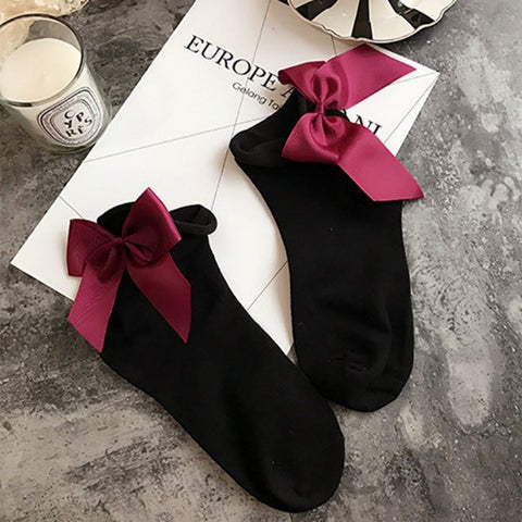 Ladies' Velvet Ribbon Tutu Ankle Socks - 21 Variants - FeetyWeety