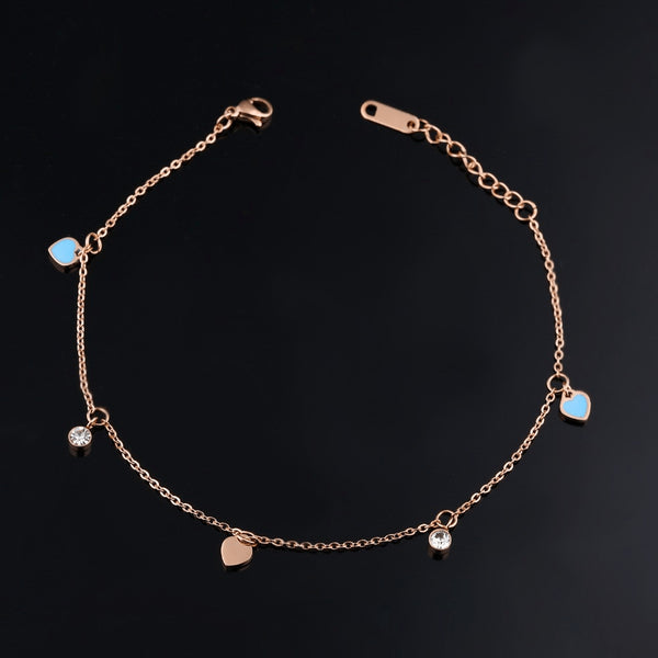 Fine Rose Gold Chain Hearts & Diamonds Anklet - FeetyWeety
