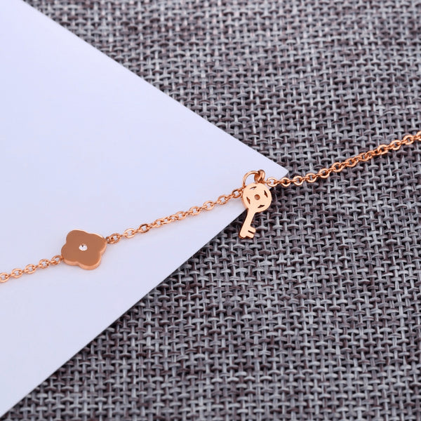 Rose Gold Plated Crystal Key & Clover Fine Anklet - FeetyWeety