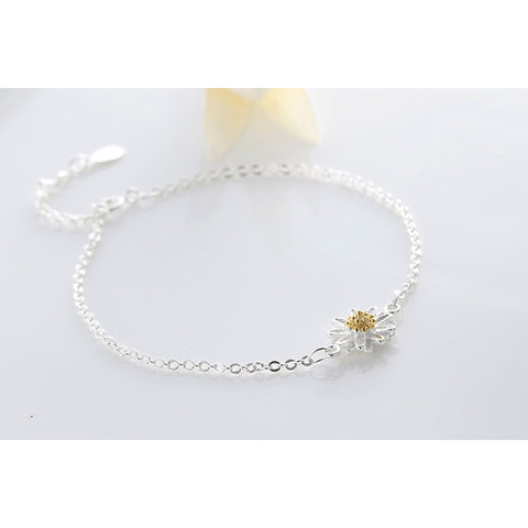 Sterling Silver Friendly Daisy Crystal Anklet - 925 - FeetyWeety