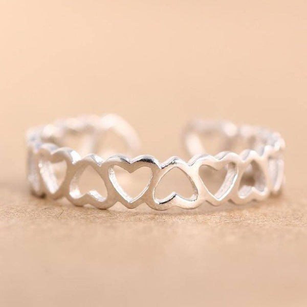 Sterling Silver Rows of Love Toe Ring - 925 - FeetyWeety