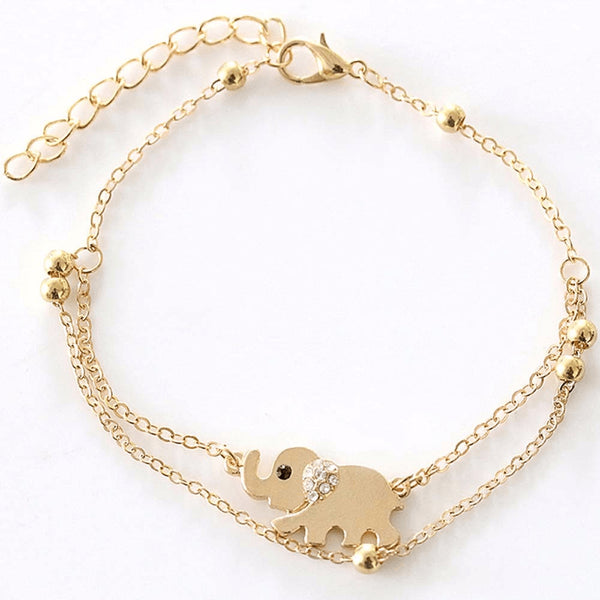 Fine Gold Double Chain Baby Elephant Anklet - FeetyWeety
