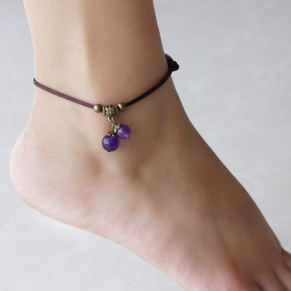 Ethnic Chalcedony Crystal Glass Anklets - 4 Variants - FeetyWeety