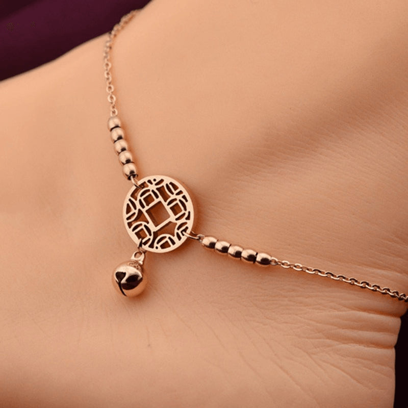 Fine Rose Gold Plated Chime Anklet - FeetyWeety