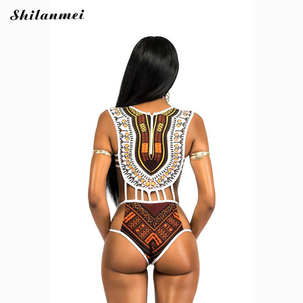 Dashiki Print Vintage Bathing Suit