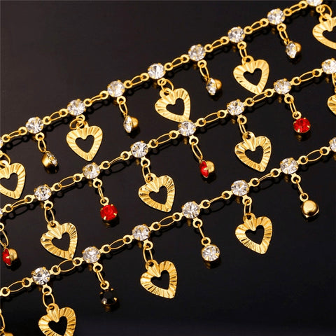 Gold Hearts & Crystal Charms Anklet - FeetyWeety