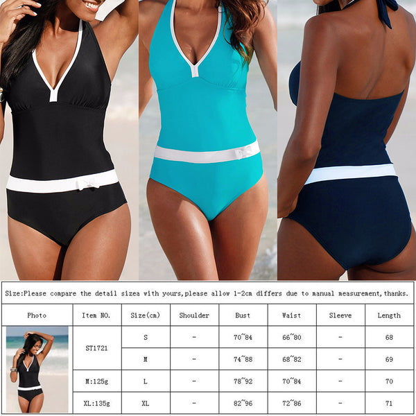 V neck One Piece Bikini Swimsuit