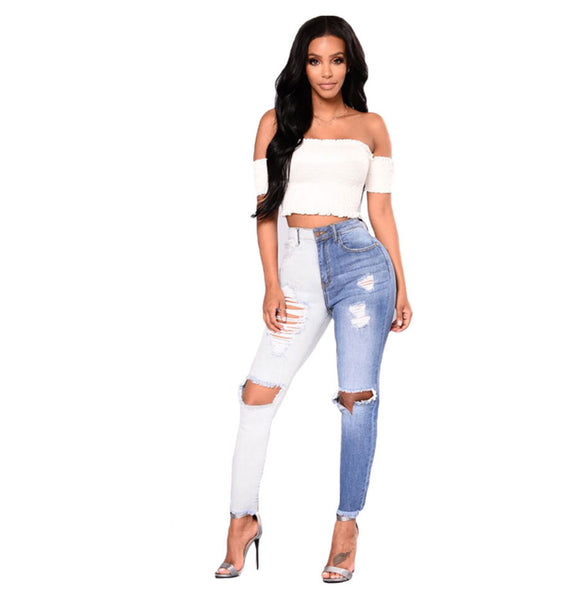 Change The Game - Color Collision Stretch Ripped Jeans