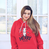 We're all merry here red adult hoodie