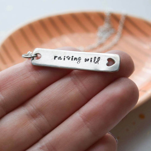 Raising Wild Hearts Hand Stamped Bar Necklace