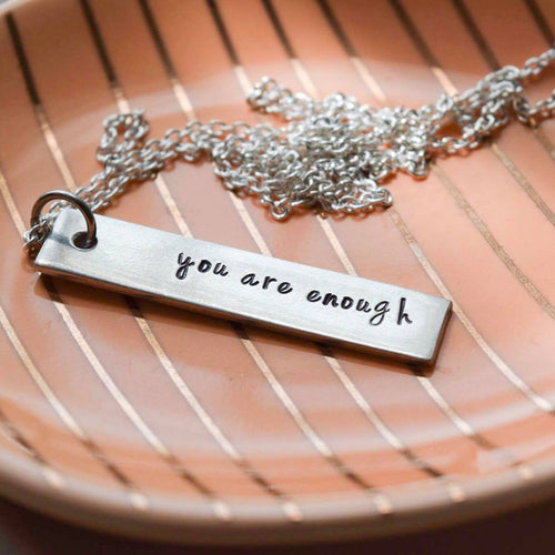 You are enough bar necklace
