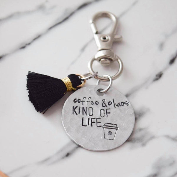 Coffee & Chaos Kind of Life Hand Stamped Keychain
