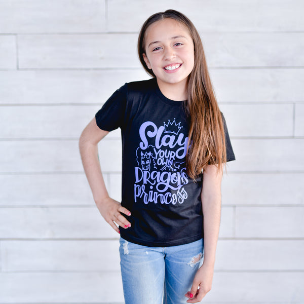 Slay Your Own Dragons Princess Kids Tee - Light Purple Ink