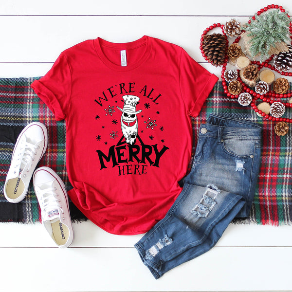 We're All Merry Here Red Crew Neck Tee