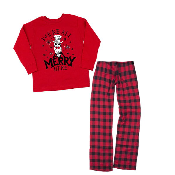 We're All Merry Here YOUTH Pajama Set - Tee or Long-Sleeve Tee