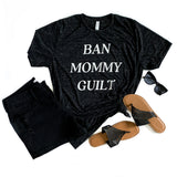 Ban Mommy Guilt Black Marble Tee  |  White Ink