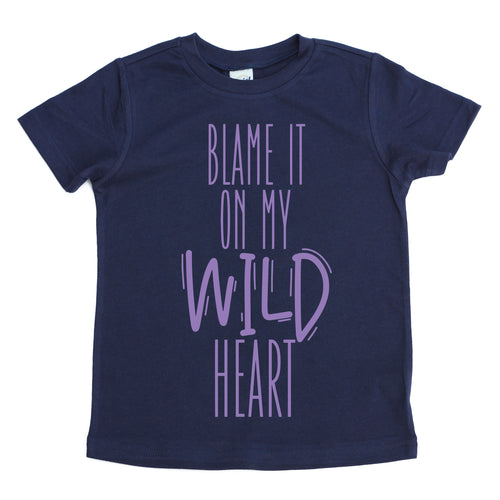 Blame it on my wild heart navy kids  tee