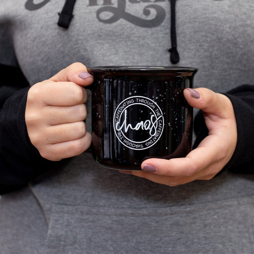 Caffeinating Through the Chaos Black Campfire Mug