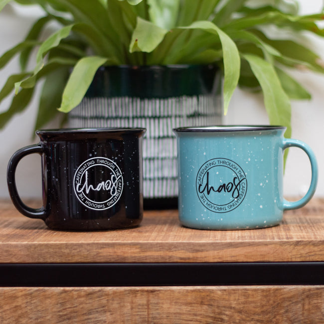 Caffeinating Through the Chaos Teal Campfire Mug