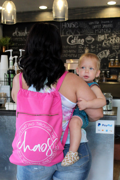 Caffeinating Through the Chaos Raspberry Cinch Bag  |  White Ink