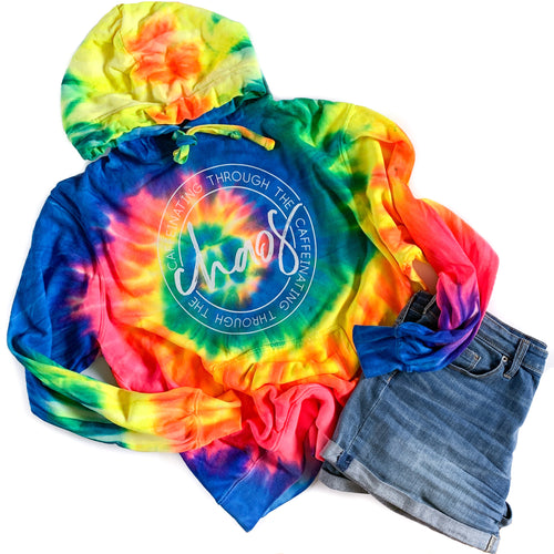 Caffeinating Through the Chaos Neon Rainbow Tie Dye Hoodie  |  White Ink