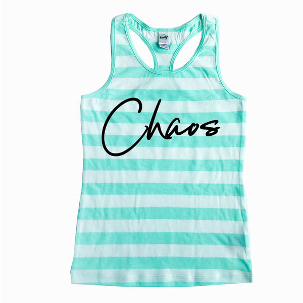Chaos Mint Stripe Racerback Tank  |  Black Ink
