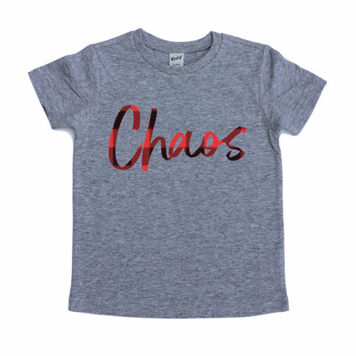 Chaos buffalo plaid gray kids tee