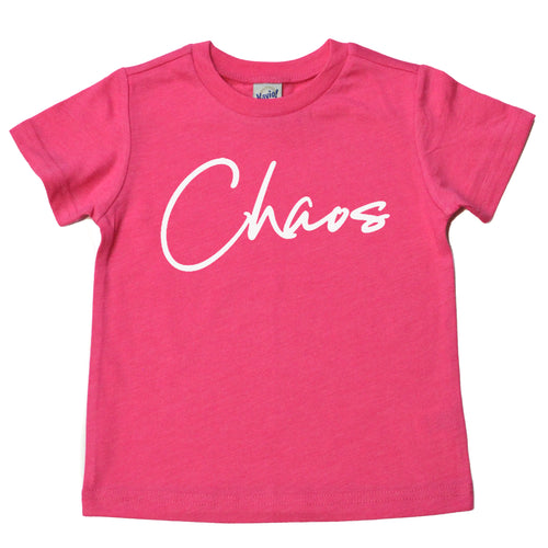 Chaos kids heather hot pink tee