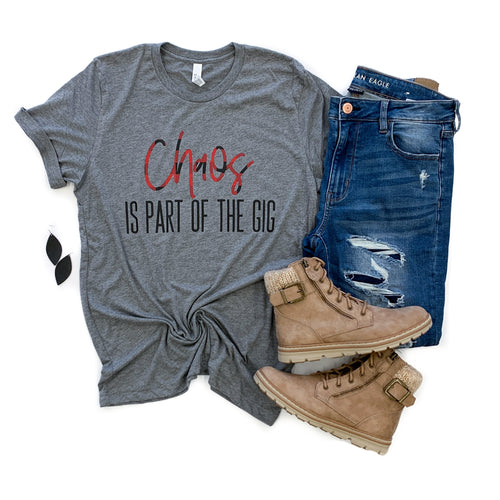 Chaos Is Part of the Gig Gray Triblend Tee  |  Buffalo Plaid/Black Ink