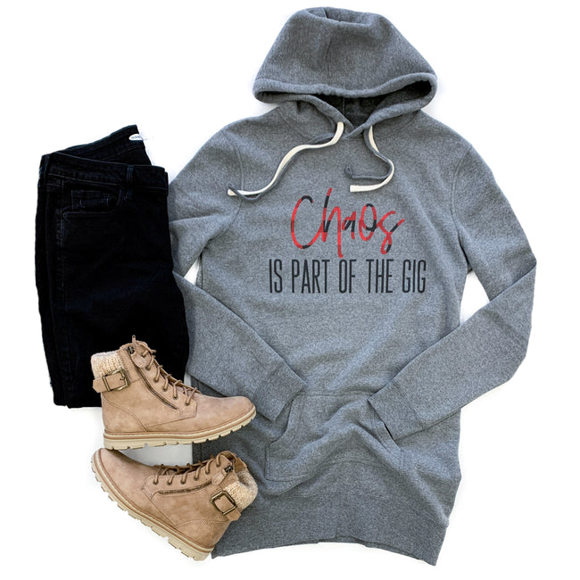 Chaos Is Part of the Gig Gray Fleece Tunic Hoodie  |  Buffalo Plaid/Black Ink